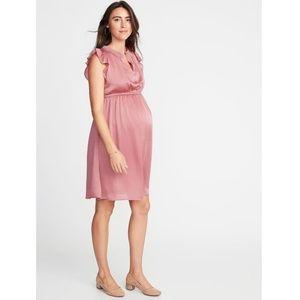 Old Navy Pink Waist-Defined Ruffle-Trim Dress